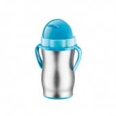 Termos dziecięcy ze słomką BAMBINI - 300 ml - Stalowy - Niebieski