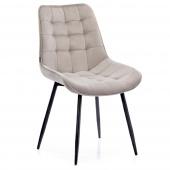 Krzesło Welurowe Tapicerowane Pikowane do Jadalni Salonu Beżowe ALGATE