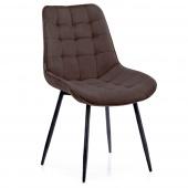 Krzesło Welurowe Tapicerowane Pikowane do Jadalni Salonu Brązowe ALGATE