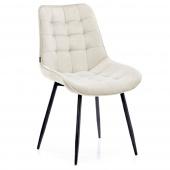Krzesło Welurowe Tapicerowane Pikowane do Jadalni Salonu Kremowe ALGATE