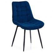 Krzesło Welurowe Tapicerowane Pikowane do Jadalni Salonu Granatowe ALGATE