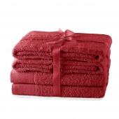 AmeliaHome - Ręcznik kąpielowy Bawełniany Gładki Ciemnoczerwony AMARI