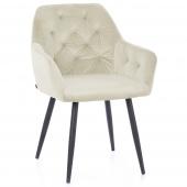 Krzesło Pikowane Glamour Welur Kremowe ARGENTO