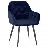 Krzesło Pikowane Glamour Welur Granatowe ARGENTO