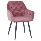 Krzesło Pikowane Glamour Welur Różowe ARGENTO