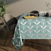 Obrus na stół z błyszczącym wzorem Motyw kwiatowy Turkusowy PLANTS