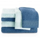 Zestaw ręczników kąpielowych Bawełnianych ze srebrnym zdobieniem Błękitny i Ciemno Niebieski MIDAL