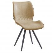 Beżowe krzesło tapicerowane z eco skóry Metalowe nóżki SMIL