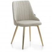Krzesło Glamour tapicerowane ze złotymi nogami Beżowe ERTTI