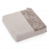 AmeliaHome - Ręcznik Kąpielowy Bawełniany z ozdobną bordiurą Beżowy CREA