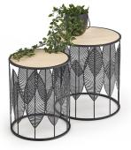 Zestaw okrągłych stolików kawowych z motywem roślinnym DUALI