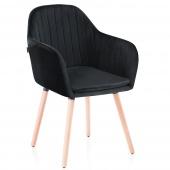 Krzesło Welurowe do Gabinetu Jadalni Drewniane nóżki Czarne WOODY