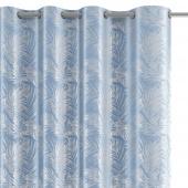 Welwetowa zasłona zaciemniająca na przelotkach Srebrny nadruk liście Niebieska FLORES