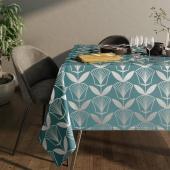 Obrus na stół z błyszczącym wzorem Motyw kwiatowy Niebieski PLANTS