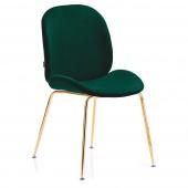 Krzesło Welurowe Tapicerowane Glamour Złote nóżki Butelkowa Zieleń FLORIN