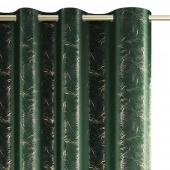 Zasłony dekoracyjne welwetowe na przelotkach Butelkowa Zieleń Złoty Nadruk 140x270 cm KINTSUGI