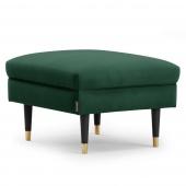 Zielony podnóżek tapicerowany Glamour z ozdobnymi nóżkami MOVERNA