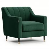 Welurowy fotel tapicerowany na ozdobnych nóżkach Glamour Butelkowa zieleń MOVERNA