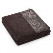 AmeliaHome - Ręcznik Kąpielowy Bawełniany z ozdobną bordiurą Brązowy CREA