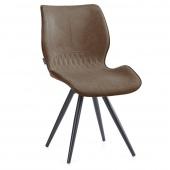 Brązowe krzesło tapicerowane z eco skóry Metalowe nóżki SMIL