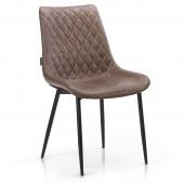 Pikowane krzesło tapicerowane do salonu Skórzane Brązowe ELUMIS