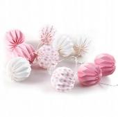 Ozdobna girlanda świetlna Papierowe kule Biało Różowe