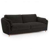 Grafitowa sofa tapicerowana Pluszowa Drewniane nóżki ROMI