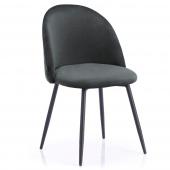 Krzesło Welurowe Tapicerowane Pikowane do Jadalni Salonu Grafitowe FARO