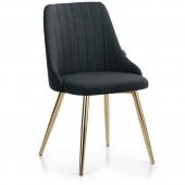 Krzesło Glamour tapicerowane ze złotymi nogami Grafitowe ERTTI