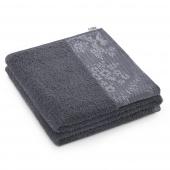AmeliaHome - Ręcznik Kąpielowy Bawełniany z ozdobną bordiurą Grafitowy CREA