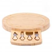 Bambusowa deska do serów z nożami okrągła na przyjęcia GLASK
