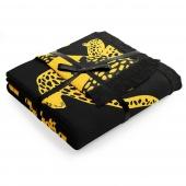 Koc ze wzorem w gepardy Frędzle 150x200 cm Czarno Żółty CHEETAH