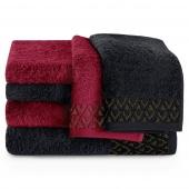 Zestaw ręczników kąpielowych Bawełnianych ze złotym zdobieniem Czarny i Bordowy MIDAL