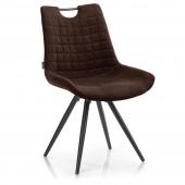 Nowoczesne krzesło tapicerowane do jadalni z pikowaniem Brąz ELAFONIS