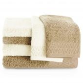 Zestaw ręczników kąpielowych Bawełnianych ze złotym zdobieniem Beżowy i Ecru MIDAL
