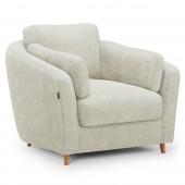 Pluszowy fotel tapicerowany Drewniane nóżki Kremowy ROMI