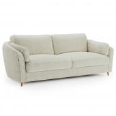 Kremowa sofa tapicerowana Pluszowa Drewniane nóżki ROMI