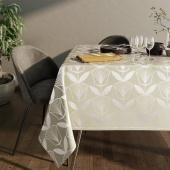 Obrus na stół z błyszczącym wzorem Motyw kwiatowy Kremowy PLANTS