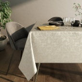 Obrus błyszczący na stół Liście Miłorzębu Oxford Kremowy JAPANDI