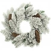 Stroik świąteczny na drzwi Wianek bożonarodzeniowy z szyszkami Ośnieżony Świerk ANNE