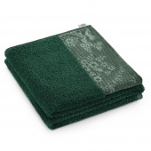 AmeliaHome - Ręcznik Kąpielowy Bawełniany z ozdobną bordiurą Ciemnozielony CREA