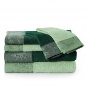 AmeliaHome - Zestaw 6 x Ręcznik Kąpielowy Bawełniany z ozdobną bordiurą Ciemnozielony + Miętowy CREA