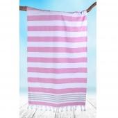 DecoKing - Ręcznik Plażowy Boho Fuksja SANTORINI Z FRĘDZLAMI