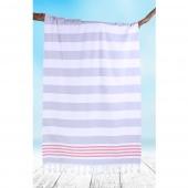 DecoKing - Ręcznik Plażowy Boho Szary SANTORINI Z FRĘDZLAMI