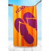 DecoKing - Ręcznik Plażowy Bawełniany Pomarańczowo Fioletowy RESERVATION WAKACJE