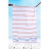 DecoKing - Ręcznik Plażowy Boho Cappucino SANTORINI Z FRĘDZLAMI