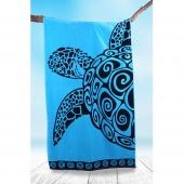 DecoKing - Ręcznik Plażowy Bawełniany Turkusowy TURQUISE TURTLE Z ŻÓŁWIEM