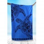 DecoKing - Ręcznik Plażowy Bawełniany Granatowy NAVY TURTLE W ŻÓŁWIE
