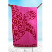 DecoKing - Ręcznik Plażowy Bawełniany Różowy PINK TURLE Z ŻÓŁWIEM