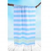 DecoKing - Ręcznik Plażowy Boho Turkusowy SANTORINI Z FRĘDZLAMI